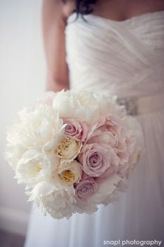 Stoneblossom Florals' Bouquet of White Peonies and Three Pale Pink Roses