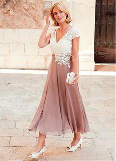 comprar Maravilloso escote en V de tul y gasa con escote en V una línea Vestido de madre de la novia con apliques de encaje de descuento en Dressilyme.com