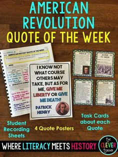 American Revolution Quotes! This is a great way to integrate social studies into your literacy block. Each unit comes with 4 quote posters, a weekly student worksheet that practices 5 literacy skills (1 per day), 4 task cards per quote, & ALL answer keys included! ($4)