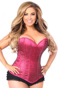 26fb5882d Fuchsia Plus Size Glitter Side Zipper Corset Espartilhos