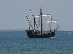 Replica of the Nina sailing past Desoto National Park in Bradenton, FL