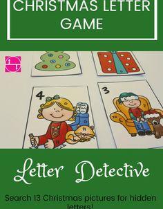Letter Recognition Games, Letter Games, Kids Learning Activities, Learning Letters, Alphabet Activities, Hands On Activities, Christmas Language Arts, Kindergarten Literacy, Preschool Curriculum