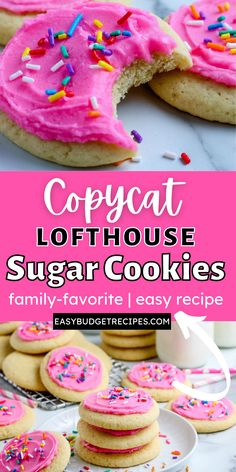 With our Copycat Lofthouse Sugar Cookies recipe, you can make your favorite store-bought frosted sugar cookie at home for so much cheaper! For more easy dessert ideas follow Easy Budget Recipes! Lofthouse Sugar Cookies, Easy Sugar Cookies, Sugar Cookies Recipe, Easy Holiday Recipes, Easy Cookie Recipes, Easy Desserts, Delicious Desserts, Outback Recipes