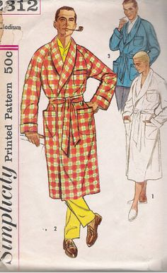 Vintage mens robe and lounge jacket by Simplicity. Knee length robe and shorter jacket. From the sleeve: Robe features raglan sleeves wot cuffs, shawl collar and 3 patch pockets 2 on each side of lower front and a smaller one on the upper left front Simplicity Sewing Patterns, Vintage Sewing Patterns, Vintage Outfits, Vintage Fashion, Men's Fashion, Fasion, Vintage Clothing, Men's Robes, Smoking Jacket