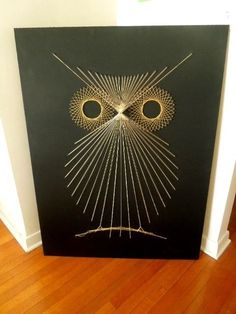 Mid Century 70s String Nail Art Giant Pop Art Abstract Owl Atomic Eames Era