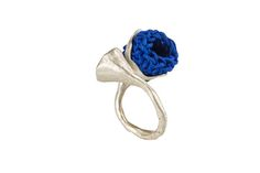 https://flic.kr/p/o1ek2T | Imaginary botanicals - ring | Brass, silver plating, crocheted cord.