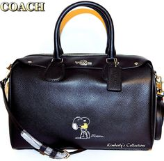 COACH X Peanuts SNOOPY Limited Edition Large Black Satchel Bag Purse NWT $495.00 #Coach #SatchelCrossBody
