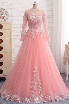 Pink Tulle Long Sleeve Formal Prom Dress, Evening Dress With Lace Applique Prom Dresses Long Pink, Party Wear Dresses, Ball Dresses, Stylish Dresses, Elegant Dresses, Pretty Dresses, Beautiful Dresses, Indian Gowns Dresses, Indian Fashion Dresses