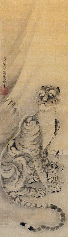 Soga Shohaku  曽我簫白「虎図」. 曾我蕭白,(1730年-1781年),日本江戶時代的畫家。他學習狩野派繪畫,而後卻形成自己懷舊的室町水墨畫風格。他的很多作品都用單色水墨,筆法雄渾有力。其最為著名的,是取材自中國傳奇和民間故事人物肖像畫和風景畫。
