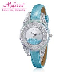 Melissa Lady Women's Watch Japan Quartz Hours Fashion Clock Bracelet Leather Crystal Luxury Rhinestones Girl Birthday Gift Box Birthday Gifts For Girls, Girl Birthday, Bracelet Watch, Quartz, Clock, Bling, Women's Watches, Fashion Outfits, Crystals