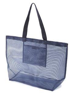Navy Mesh Beach Bag