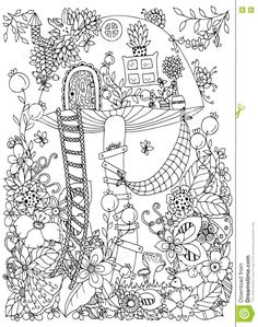 Vector Illustration Zen Tangle, Doodle House Of The Fungus In The Forest. Stock Vector - Illustration of fairytale, page: 71287025 Garden Coloring Pages, Adult Coloring Book Pages, Cute Coloring Pages, Coloring Books, Zen Colors, Free Adult Coloring, Diy Y Manualidades, Flower Doodles, Doodle Flowers