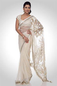 Flower embellished white net saree,