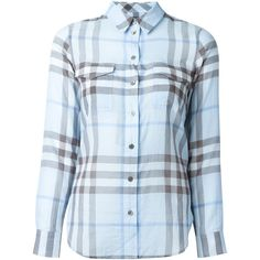 Burberry Brit Checked Shirt (2.545 NOK) ❤ liked on Polyvore featuring tops, blue, blue shirt, checked shirt, blue top, burberry and blue checkered shirt