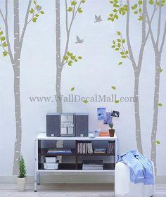4 Set Birch Tree With Birds Wall Decals– WallDecalMall.com