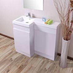 Aston Left Hand White Gloss Bathroom White Basin Vanity Unit & Toilet Unit - 1000mm