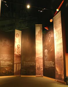 Ceiling height graphics -- lighting is essential! MSA-type larger than life firefighters? Museum Exhibition Design, Exhibition Display, Exhibition Space, Design Museum, Gettysburg Museum, Banner Design Inspiration, Museum Plan, Museum Displays, Sign Display