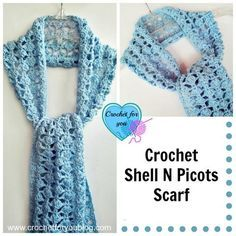 """Crochet Shell N Picots Scarf 