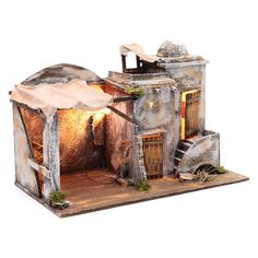 Ambientazione casa araba e capanna 30x40x25 cm presepe di Napoli 4 Diy Nativity, Nightmare On Elm Street, Diorama, Christmas Decorations, Miniatures, Wallpaper, Projects, Bethlehem, Jerusalem