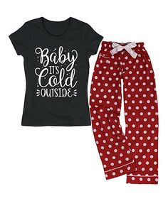 Loving this Black & Red 'Baby It's Cold Outside' Lounge Set - Plus Too on #zulily! #zulilyfinds