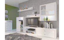Bílý nábytek do obývacího pokoje je stále elegantní. Bílá obývací stěna DORRIS je žhavou jarní novinkou v naší nabídce. Bílý lesk a elegantní tvar tvoří svěží kompozici nábytku do obývacího pokoje. Obývací stěna poskytuje dostatek prostoru pro širokoúhlou televizi a další AV vybavení.