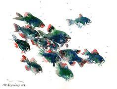 Barbus, Aquarium fish, Original watercolor painting, 9 X 12 in, fish lvoer art, dark green blue fish painting, aquarium lover
