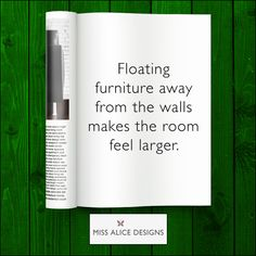 Floating furniture away from the walls makes a world of difference!  #furniture #tip #space #MissAliceDesigns