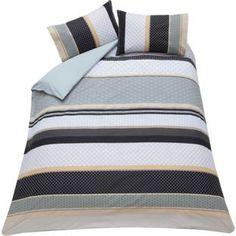 Living Knick Knack Natural Stripe Duvet Cover Set - Double. from Homebase.co.uk