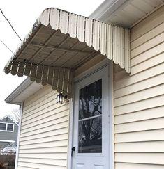 awnings over doors diy Aluminum Window Awnings, Metal Awnings For Windows, Outdoor Window Awnings, House Awnings, Patio Awnings, Outdoor Stairs, Front Door Awning, Porch Awning, Diy Awning