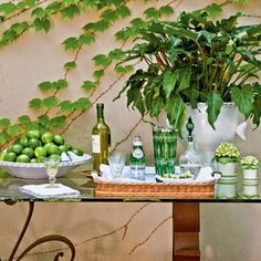 set up a pretty bar area for your next outdoor party