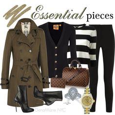 DenaMarie NYC - My Essential Pieces: Burberry trench, Tory B. cardi, BCBG silk sweater, RLauren jodhpurs, CK booties, LV handbag, Neil Lane ring, Rolex watch.