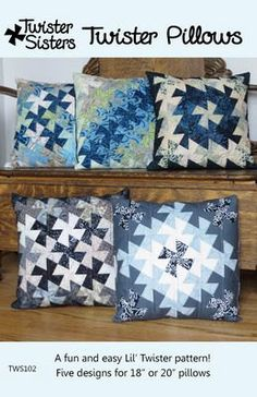 Twister Pillows sewing pattern from Twister Sisters Quilting Templates, Quilting Tutorials, Quilting Projects, Quilt Patterns, Sewing Projects, Patchwork Pillow, Quilted Pillow, Twister Sister, Flick Flack