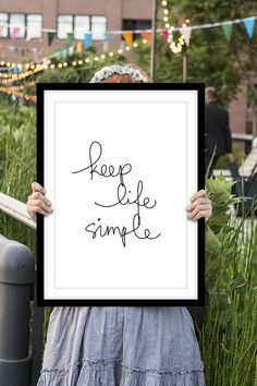 "Inspirational Print Motivational Quote ""Keep Life Simple"" Handwritten Style Typographic Art Print Wall Decor Poster"