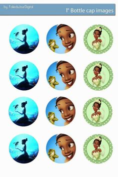 "Folie du Jour Bottle Cap Images: The Princess and the Frog Free Digital bottle cap images 1"" inch"