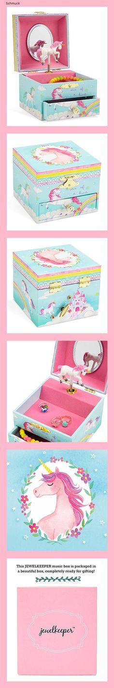 Jewelkeeper - Spieluhr Ballerina Schmuckschatulle, Einhorn Regenbogen Design mit Ausziehfach - The Unicorn Melodie - 14g2