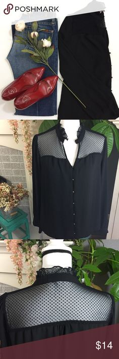Selling this Sheer and dotted Lace button up shirt on Poshmark! My username is: mommawong. #shopmycloset #poshmark #fashion #shopping #style #forsale #Forever 21 #Tops