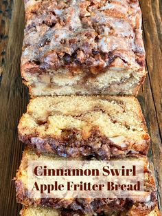 Cinnamon Swirl Apple Fritter Bread is an easy and crowd-pleasing recipe! Enjoy this quick bread any time of year with coffee for breakfast or with tea for an afternoon treat. This Cinnamon Swirl A… Apple Fritter Bread, Apple Fritters, Apple Bread, Apple Cinnamon Bread, Cinnamon Swirl Cake, Apple Butter Bread Recipe, Apple Loaf Cake, Cinnamon Cake Recipes, Apple Fritter Recipes
