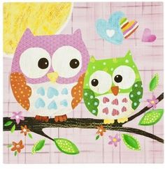 Cute for the nursery different patterns and colors Owl pattern for wall art or decor idea