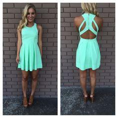 Mint Triad Cut Out Back Dress
