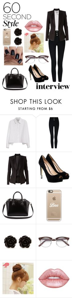 """""""60 sec. style: Interview"""" by imsailormars ❤ liked on Polyvore featuring Y's by Yohji Yamamoto, Alexandre Vauthier, GUESS, Givenchy, Casetify, Erica Lyons, Pin Show, Lime Crime, jobinterview and 60secondstyle"""