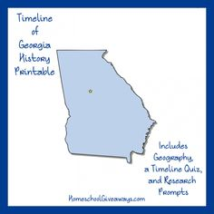 "FREE Georgia State History Printable. How much do you know about Georgia? The home of Margaret Mitchell, Martin Luther King, Jr., and many others was also the last of the original thirteen colonies to be founded, and first state to give the right to vote to 18-year-olds. Come learn more about the ""Peach State"" with a timeline worksheet, map project, and writing prompts. Download this free Georgia state history printable today!"