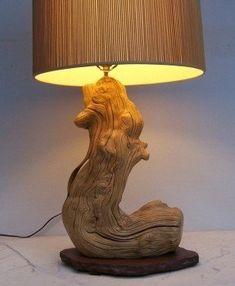 Driftwood Lamp, Rustic Lamps, Wooden Lamp, Bedroom Lamps, Wood Creations, Unique Lamps, Lamp Design, Lampshades, Lamp Light