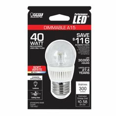 Feit Electric BPA15/CL/DM/LED A15 Dimmable LED - 40Weq. 300L