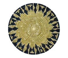 """Handwoven Serving Tray Made in Rwanda of organically dyed sisal fiber and sweet grass, the beautiful blue and natural starburst design incorporated into this tray represents """"hope."""" This tray is perfect to use as a coffee table centerpiece or for serving Natural History Museum Shop, Coffee Table Centerpieces, Christmas 2017, Sisal, Rattan, Hand Weaving, Tray, Concept, Design"""