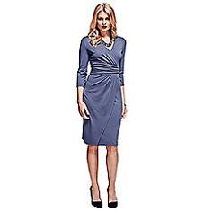 HotSquash Grey v neck mock-wrap thermal dress Debenhams, Wrap Dress, Dresses For Work, V Neck, Elegant, Grey, Clothes, Wedding, Fashion