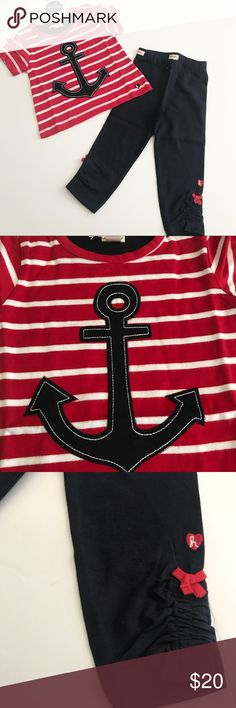 NWT! Hatley anchor outfit Brand new!  Red and white striped shirt with navy anchor appliqué and navy pants with red bows on the ankles Hatley Matching Sets