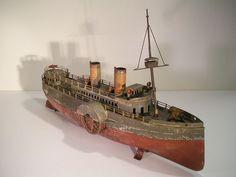 Early German Carette Tin Clockwork Paddle Wheeler Boat Antique Tin Toy Boat