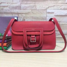 Hermes Halzan Togo Leather Bag In Red Hermes Halzan 56bb04253f009