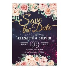Wedding Save The Date Modern Floral Purple Sparkle Card - gold wedding gifts customize marriage diy unique golden