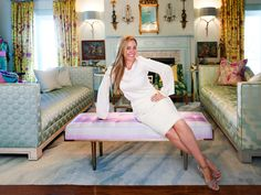 Michelle Workman in the room she designed for the Junior League of Chattanooga Showhouse.